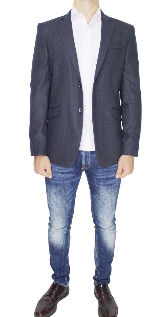Navy Pure Wool Textured Semi-Slim Fit Blazer