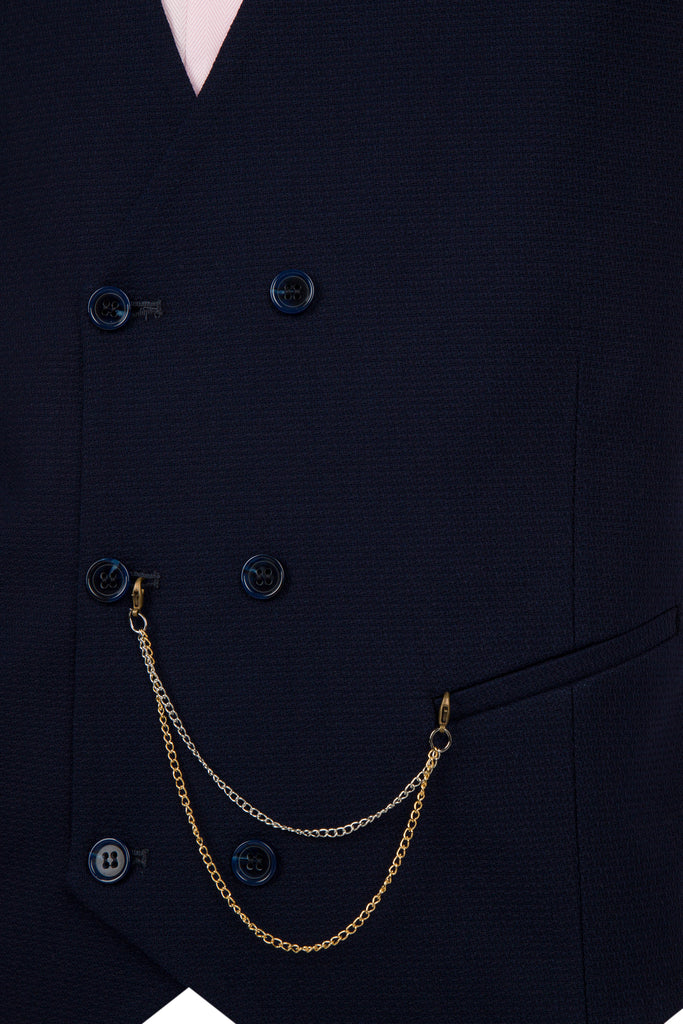 Navy Textured Wool Double Breasted Waistcoat - Jack Martin Menswear