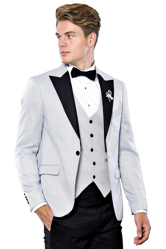 Silver Grey Dobby 3 Piece Dinner Suit / Tuxedo with Removable Black Lapel
