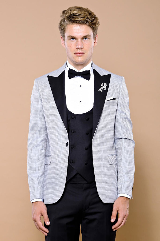Silver Grey Dotted 3 Piece Dinner Suit / Tuxedo with Removable Black Lapel
