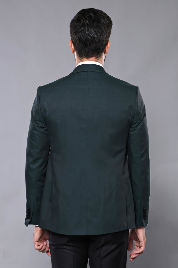 Green Dobby 3 Piece Dinner Suit / Tuxedo with Removable Black Lapel