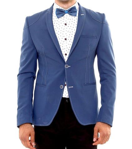Blue Slim Fit Blazer with Stitching Details