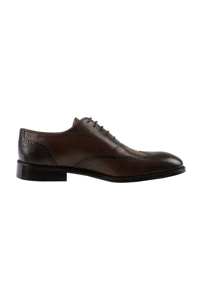 JACOB - Brown Handmade Burnished Leather Semi-Brogue Oxford Shoes - Jack Martin Menswear