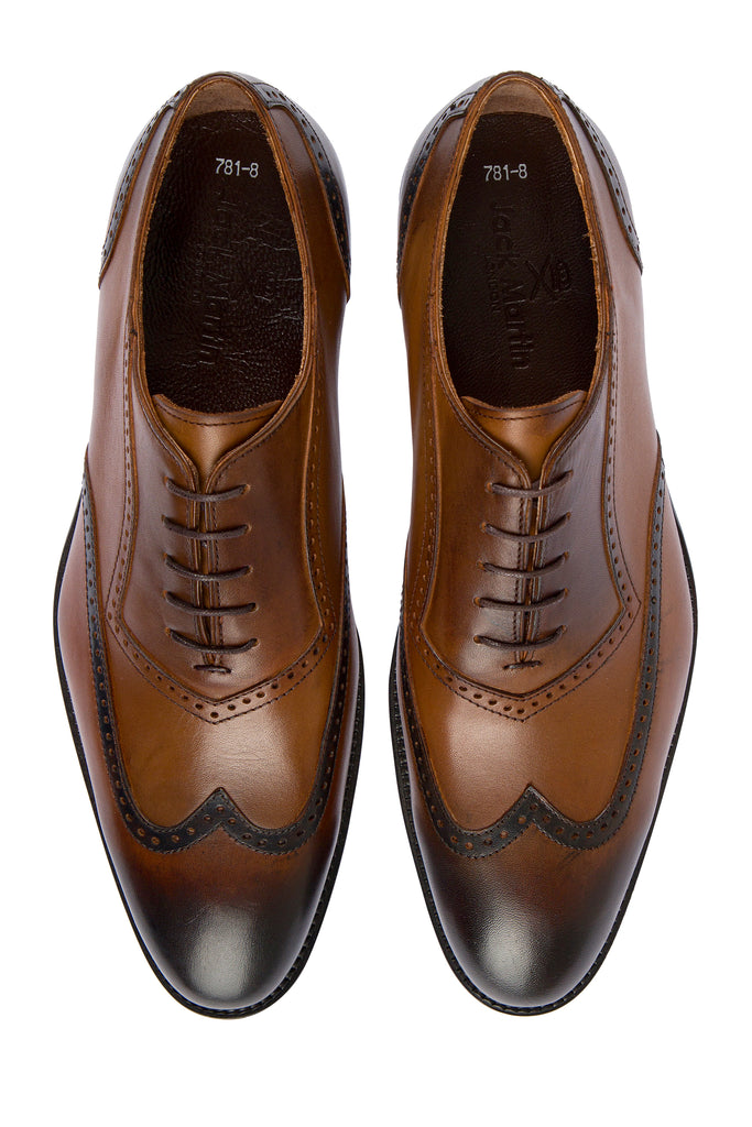 JACOB - Tan Handmade Burnished Leather Semi-Brogue Oxford Shoes - Jack Martin Menswear