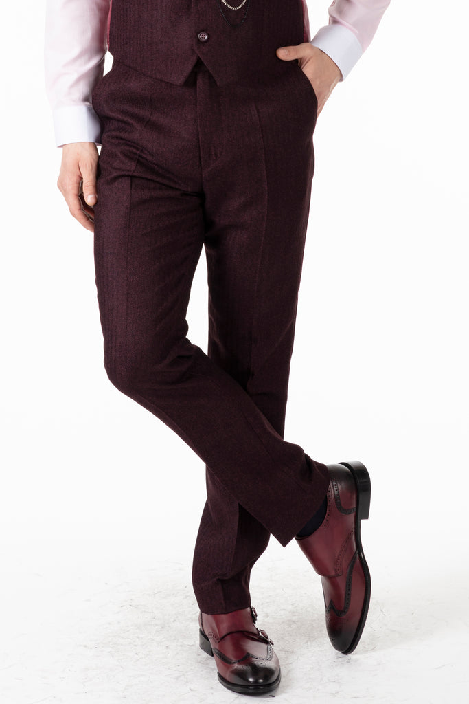 JOHN - Burgundy Tweed Herringbone Trousers - Jack Martin Menswear