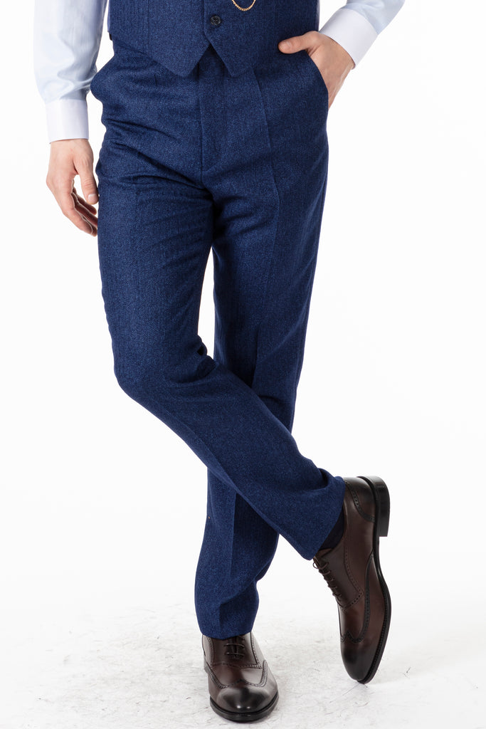 JOHN - Blue Tweed Herringbone Trousers - Jack Martin Menswear
