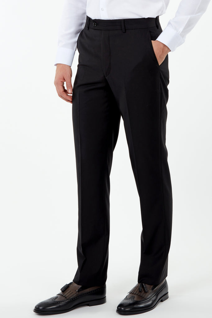 PARIS - Black Plain Tailored Fit Suit Trousers - Jack Martin Menswear