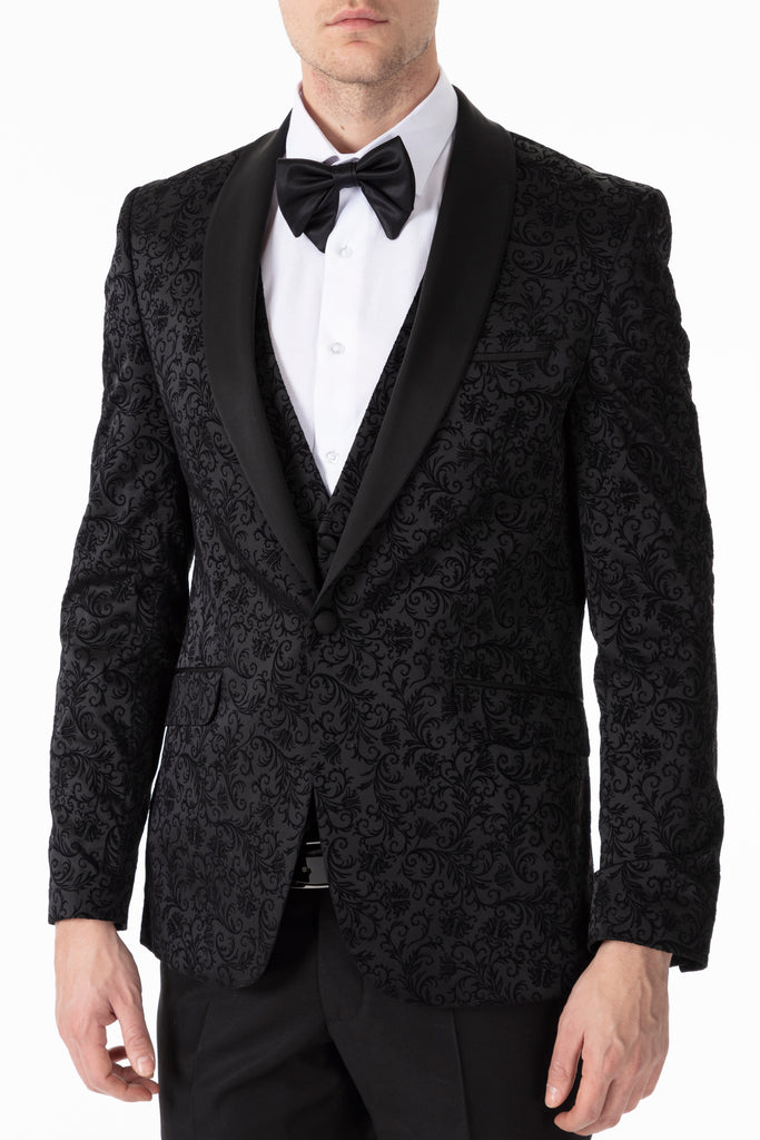 Black Floral Printed Velvet Dinner / Tuxedo Jacket - Jack Martin Menswear