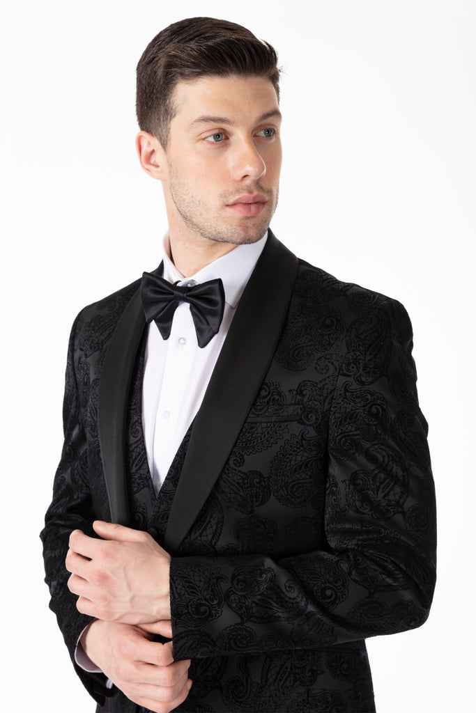 Black Paisley Printed Velvet Dinner / Tuxedo Jacket - Jack Martin Menswear