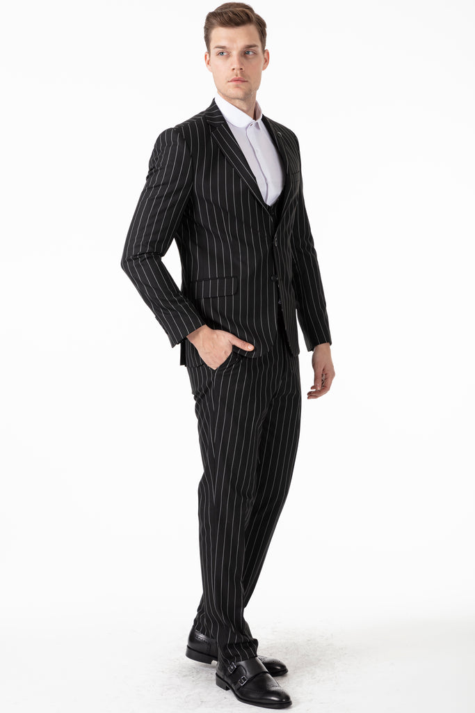 JAY - Black Chalk Stripe 3 Piece Semi Slim Fit Suit - Jack Martin Menswear