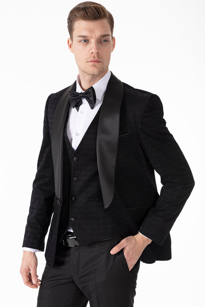 LEO - Black Geometric Printed Velvet Dinner / Tuxedo Suit - Jack Martin Menswear