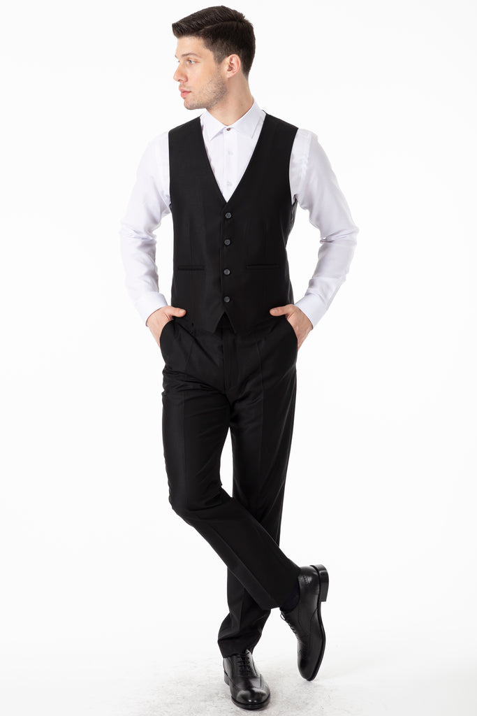 MICHAEL - Black Plain Semi-Slim Fit 3 Piece Suit - Jack Martin Menswear
