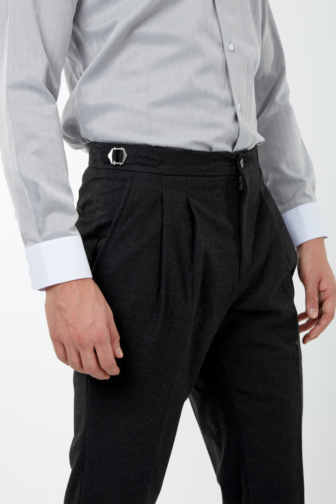 LAGUNA - Heather Black Pleated Flannel Trousers