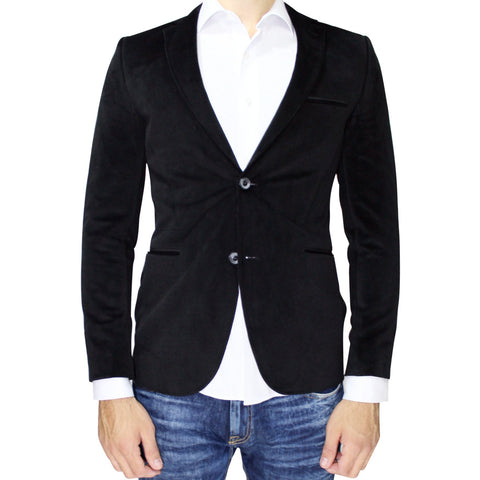Black Velvet Slim Fit Blazer with Neck Detail