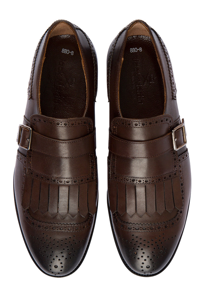 RYAN - Brown Handmade Burnished Leather Tassel Brogue Monk Strap Shoes - Jack Martin Menswear