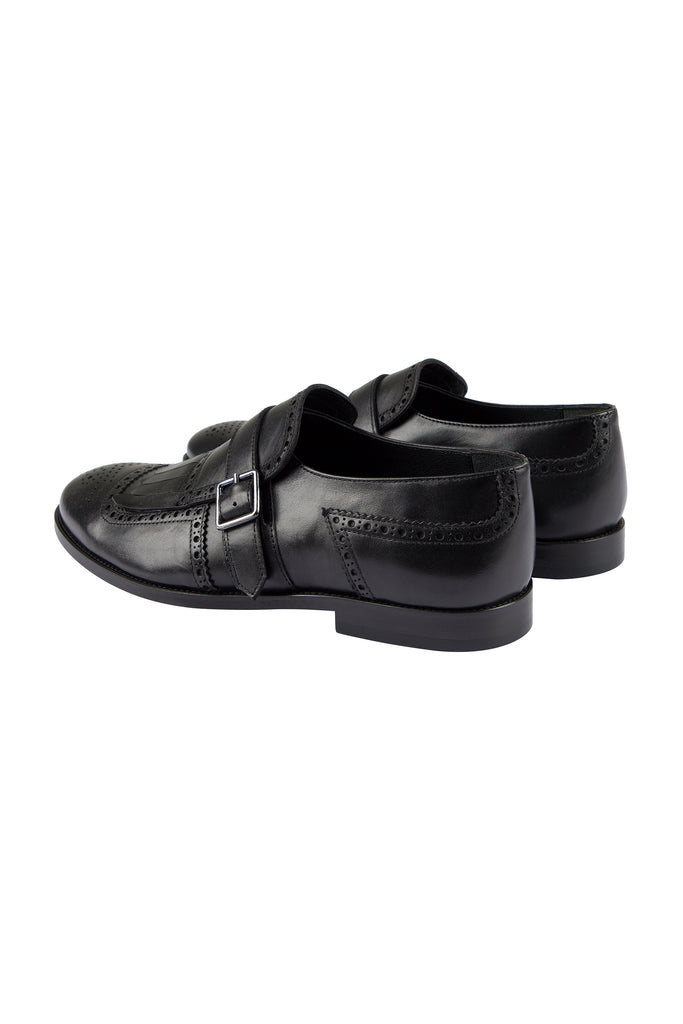 RYAN - Black Handmade Leather Tassel Brogue Monk Strap Shoes - Jack Martin Menswear