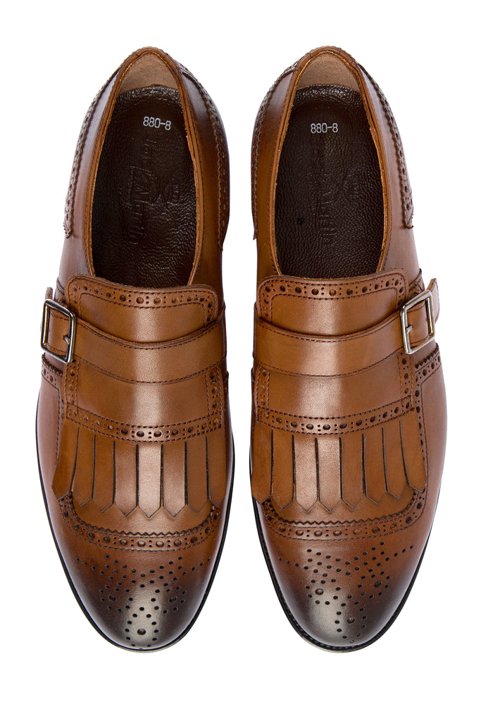 RYAN - Tan Handmade Burnished Leather Tassel Brogue Monk Strap Shoes - Jack Martin Menswear
