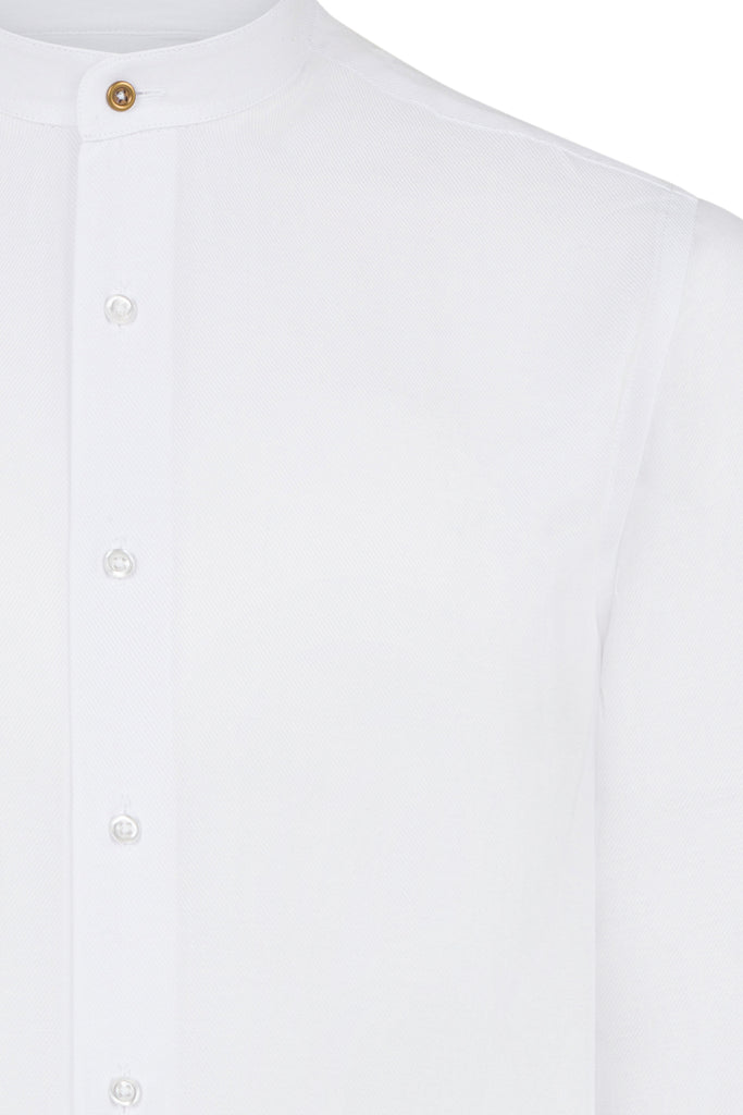 Peaky Blinders Style - White Twill Collarless/Grandad Collar Slim Fit Shirt - Jack Martin Menswear