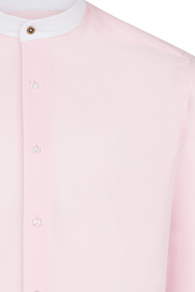 Peaky Blinders Style - Pink Twill Collarless/Grandad Collar Slim Fit Shirt - Jack Martin Menswear