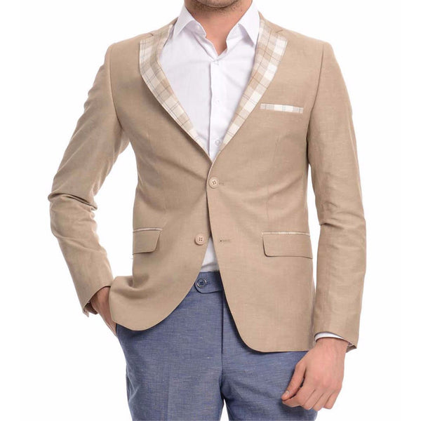 Sand Beige Cotton Slim Fit Blazer with Check Lapel