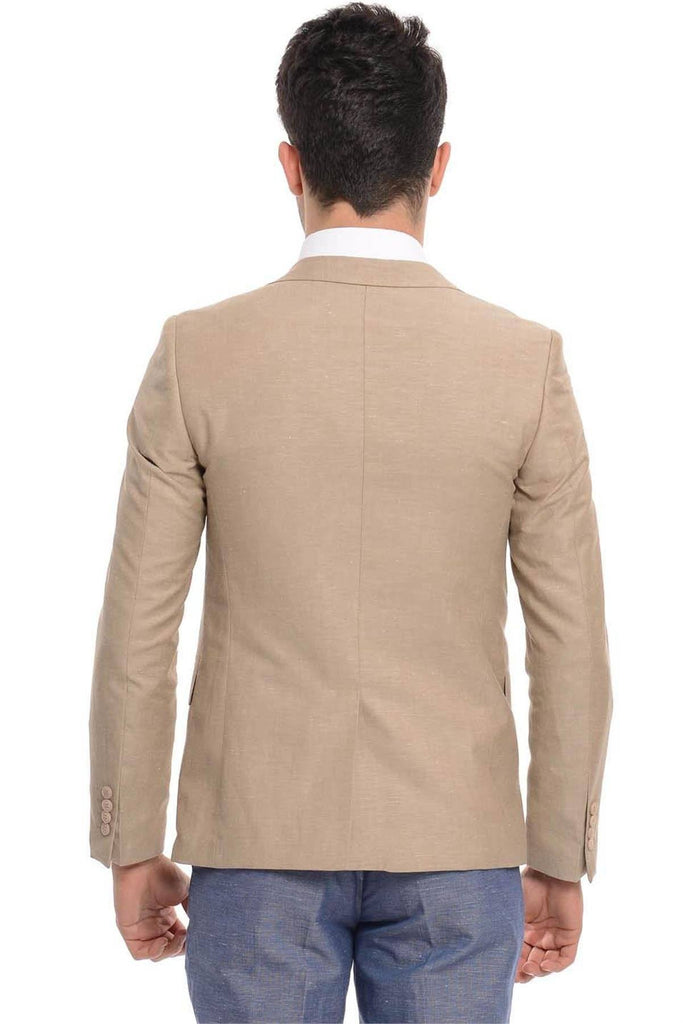 Sand Beige Cotton Slim Fit Blazer with Check Lapel - Jack Martin Menswear