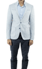 Light Blue Linen Cotton Slim Fit Blazer with Details