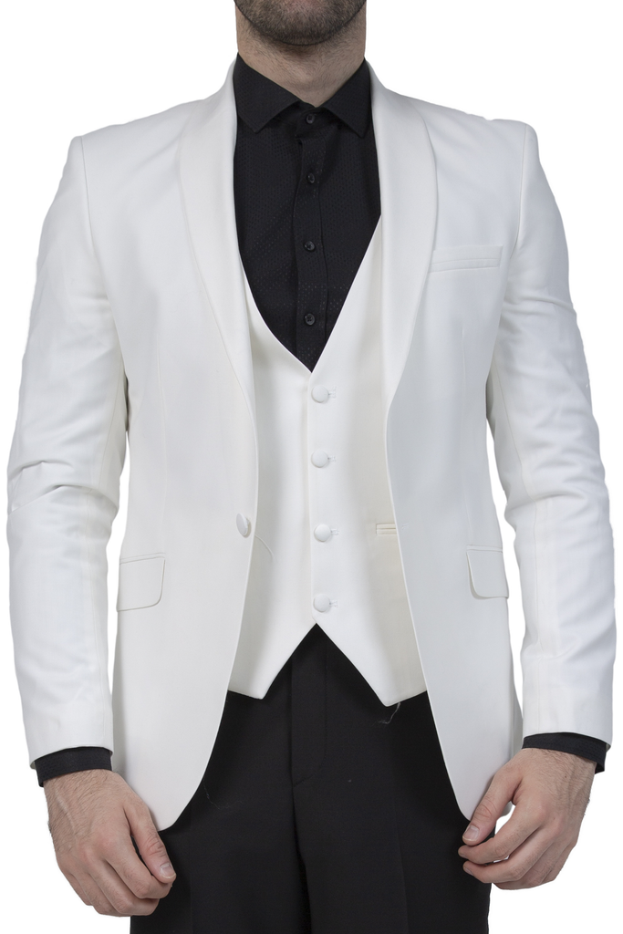 Off White 3 Piece Suit / Tuxedo with Shawl Lapel - Jack Martin Menswear