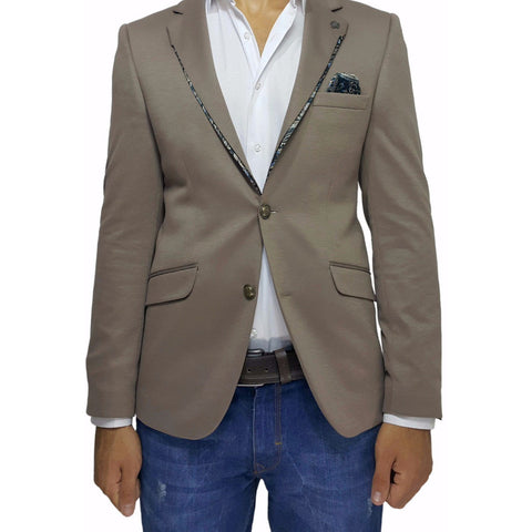 Chocolate Jersey Slim Fit Blazer with Lapel Detail