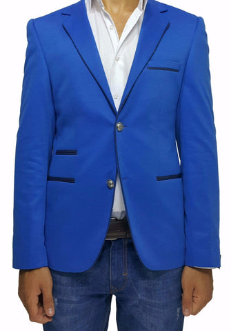 Bright Blue Jersey Slim Fit Blazer with Piping