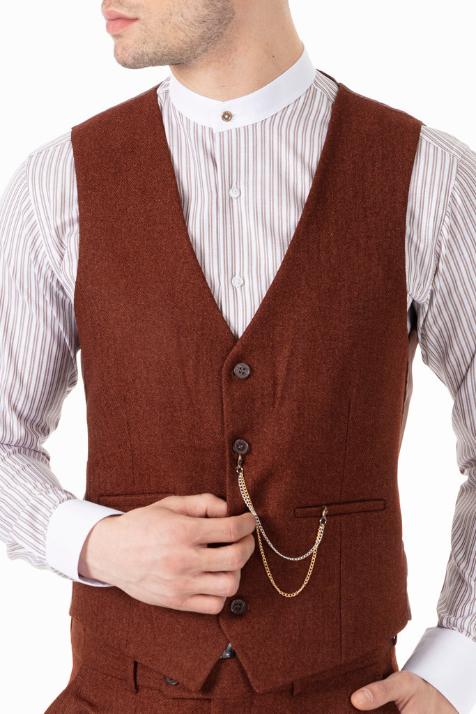 JOHN - Tobacco Brown Tweed Herringbone Waistcoat - Jack Martin Menswear