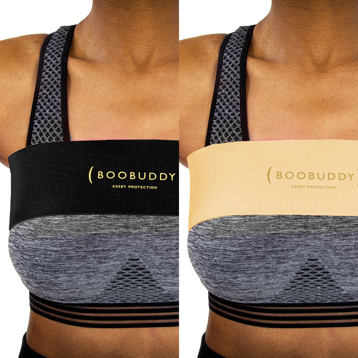 Boobuddy Adjustable Breast Support Band | Beige & Black Bundle | How to Wear a Boobuddy