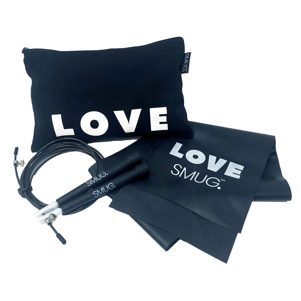 Skipping Rope, Resistance Band & Bag Fitness Kit - Love Print, Black