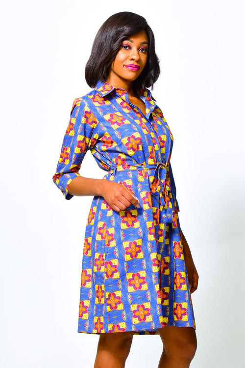 Binao African Wrap Dress Knee-length and with pockets