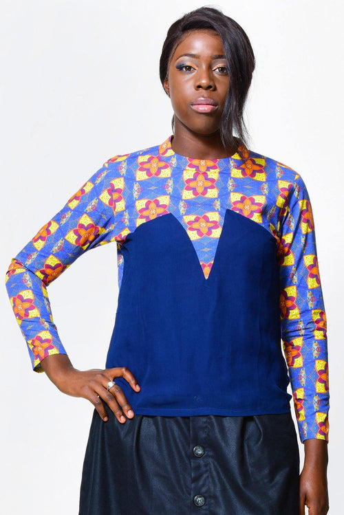 Rounded neck & long sleeve blouse | African Print - ALLEON