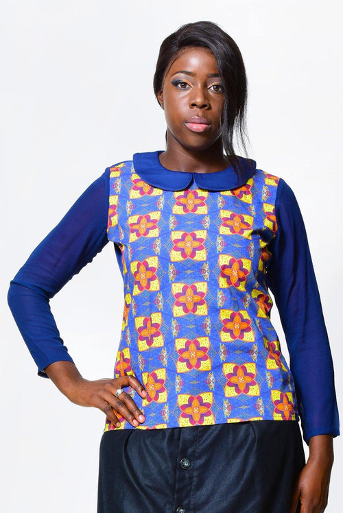 Long sleeved & rounded neck blouse | African Print - ALLEON