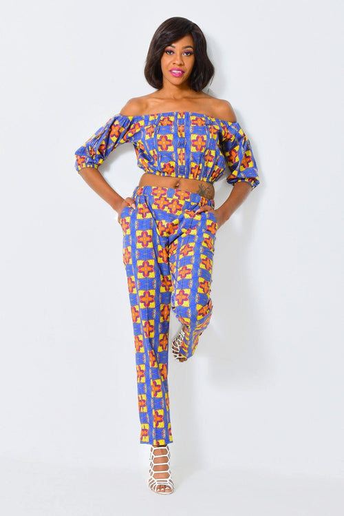 Cropped off-shoulder top | African Print - ALLEON