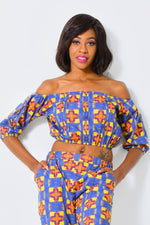 Cropped off-shoulder top | African Print alleon1.myshopify.com