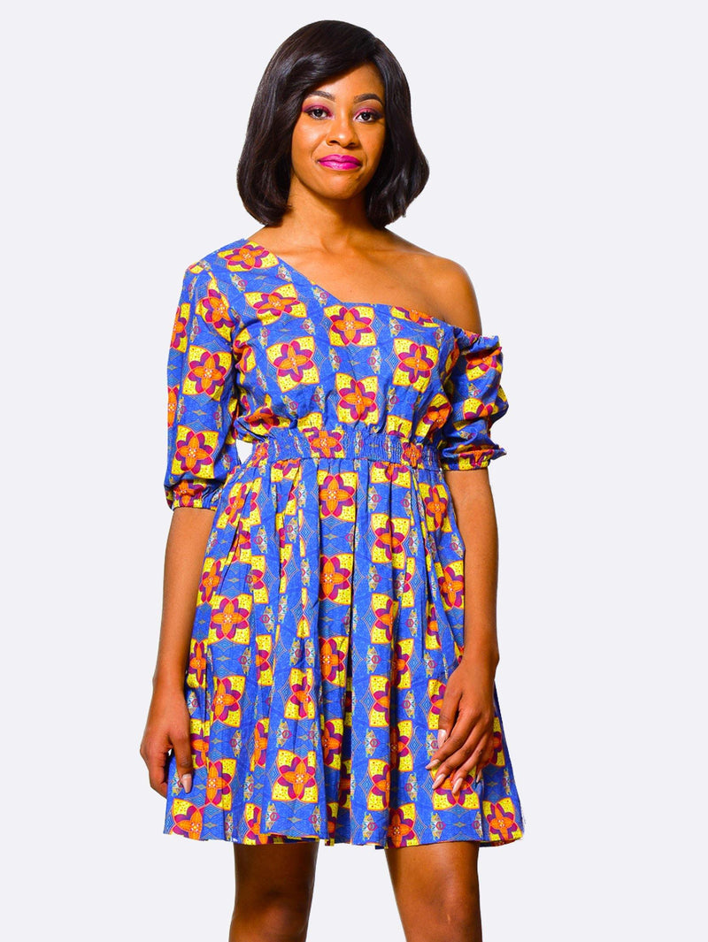 Fit & Flare Dress One Shoulder | African Print Dress alleon1.myshopify.com