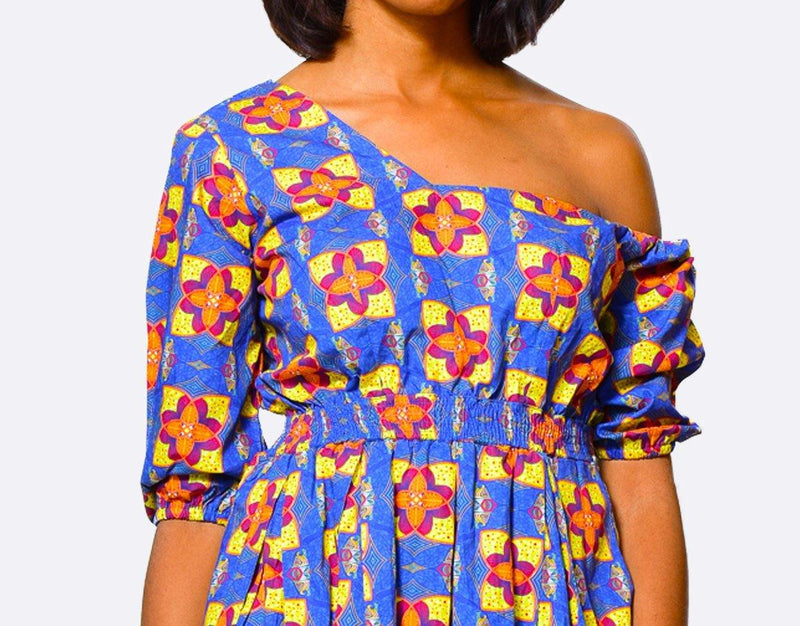 Fit & Flare Dress One Shoulder | African Print Dress - ALLEON