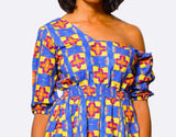 Fit & Flare Dress | One ShoulderDress - Alleon traditional african prints