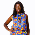 Rounded Neck Top | African Print - ALLEON