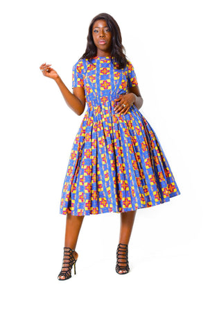 Fit & Flare Dress | Short SleeveDress - Alleon traditional african prints