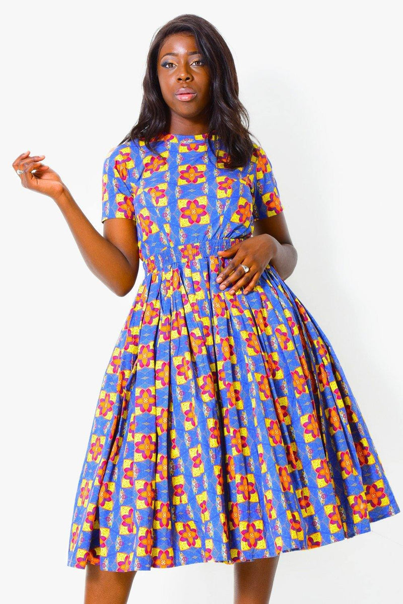Fit & Flare Dress Short Sleeve | African Print Dress - ALLEON