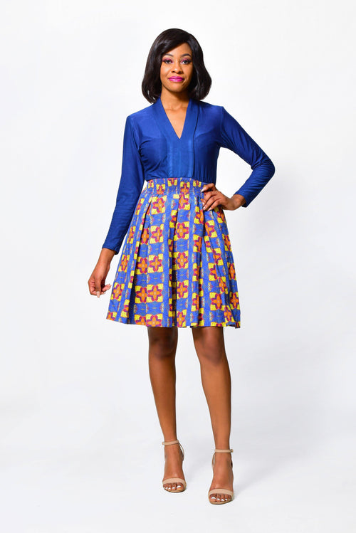 Fit & Flare Dress Long Sleeved | African Print Dress - ALLEON