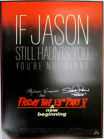 Melanie Kinnaman & Shavar Ross Hand-Signed Friday the 13th Part 5 18x24 Poster