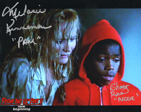 "Melanie Kinnaman & Shavar Ross Hand-Signed Friday the 13th Part 5 Color Photo - ""Jason On Ground"""