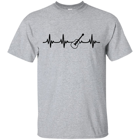 Acoustic Guitar Heartbeat T-Shirt Black Logo - MainTune - 1