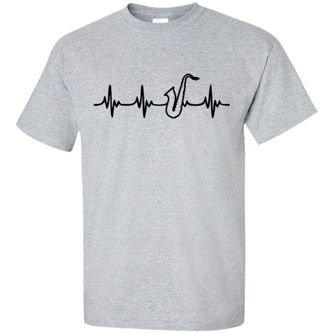 Tenor Saxophone Heartbeat T-Shirt Black Logo - MainTune - 1