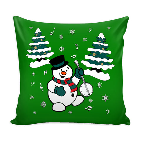 Snowman With Banjo Pillow Cover