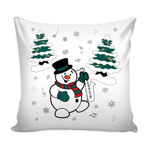 Snowman With Saxophone Pillow Cover